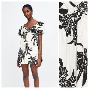 NWT. Zara Floral Print Mini Dress. Size M.